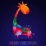 De groetkaart van Colorfullkerstmis met giraf Stock Afbeelding