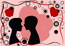 De groetkaart van de Dag van de valentijnskaart royalty-vrije stock afbeelding