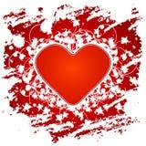 De groetkaart van de Dag van de valentijnskaart met bloemen en hart op grunge B Stock Afbeeldingen