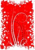 De groetkaart van de Dag van de valentijnskaart met bloemenhart op grunge backg Stock Foto