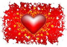 De groetkaart van de Dag van de valentijnskaart met bloemenhart op grunge backg Stock Afbeeldingen