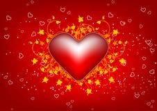 De groetkaart van de Dag van de valentijnskaart met bloemenhart op rode backgrou Stock Afbeelding