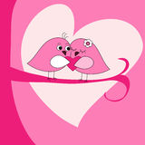 De groetkaart van de Dag van de valentijnskaart met roze vogels Royalty-vrije Stock Afbeeldingen