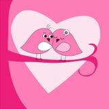 De groetkaart van de Dag van valentijnskaarten met vogels Royalty-vrije Stock Foto