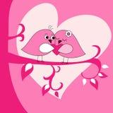 De groetkaart van de Dag van valentijnskaarten met vogels op tak Stock Foto