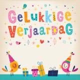 De groetkaart van de Gelukkige verjaardag Nederlandse Gelukkige verjaardag Stock Afbeelding