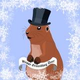 De groetkaart van de Groundhogdag met leuke marmot in zwarte hoed op de winterachtergrond stock illustratie