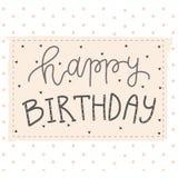 De groetkaart van de hand van letters voorziende verjaardag Royalty-vrije Stock Foto's