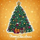 De groetkaart van de kerstboom Stock Foto