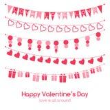 De groetkaart van de valentijnskaartendag met feestelijke slingers Stock Foto's