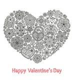 De groetkaart van de valentijnskaartendag met velen overladen element royalty-vrije illustratie