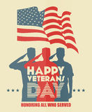 De groetkaart van de veteranendag De militair van de V.S. in silhouet het groeten Stock Afbeelding