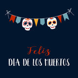 De groetkaart van Feliz Dia DE los Muertos, uitnodiging Royalty-vrije Stock Afbeeldingen
