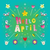De groetkaart van Hello april Stock Fotografie