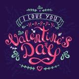 De groetkaart van het kalligrafieontwerp met gelukkig valentine'sdag en februari 14 Royalty-vrije Stock Foto