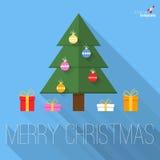 De groetkaart van het kerstboom vlakke ontwerp Royalty-vrije Stock Foto