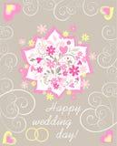 De groetkaart van het pastelkleurhuwelijk met document knipsel applique met mooi boeket met madeliefje, roze harten en trouwringe stock illustratie