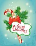 De groetkaart van het vakantienieuwjaar met Kerstmissuikergoed, kader Royalty-vrije Stock Afbeelding
