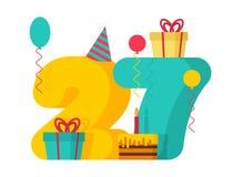Gelukkige Verjaardag Voor De Uitnodigingskaart Van De 27 Jaarpartij