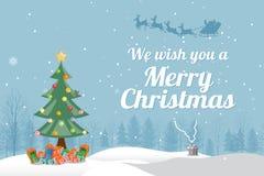 De groetkaart van de kerstboom Stock Fotografie