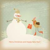 De groetkaart van Kerstmis en van het Nieuwjaar Stock Afbeelding