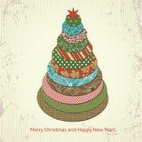 De groetkaart van Kerstmis en van het Nieuwjaar Stock Foto