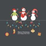 De groetkaart van Kerstmis en van het Nieuwjaar Stock Afbeeldingen