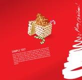 De groetkaart van Kerstmis - heden, snoepje en ginge Royalty-vrije Stock Afbeeldingen