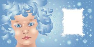 De groetkaart van Kerstmis met een mooi babygezicht Stock Fotografie