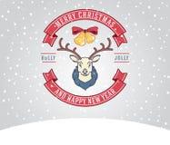 De groetkaart van Kerstmis met herten Royalty-vrije Stock Afbeelding