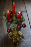 De groetkaart van Kerstmis met kaarsen Royalty-vrije Stock Afbeelding