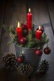 De groetkaart van Kerstmis met kaarsen Royalty-vrije Stock Foto