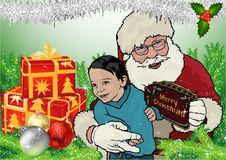 De groetkaart van Kerstmis met de Kerstman stock illustratie