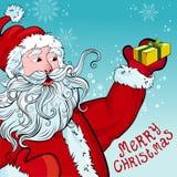 De groetkaart van Kerstmis met Kerstman Stock Foto's