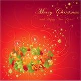 De groetkaart van Kerstmis met kroon en ca Stock Foto's
