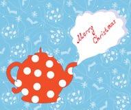 De groetkaart van Kerstmis met theepot en patroon Royalty-vrije Stock Foto's
