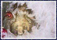 De groetkaart van de Kerstmisvooravond en behang Stock Afbeelding