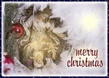 De groetkaart van de Kerstmisvooravond met tekst Royalty-vrije Stock Foto
