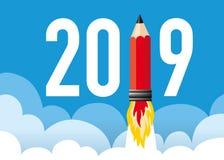 de groetkaart van 2019 met een raketpotlood vector illustratie