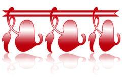 De groetkaart van ontwerpvalentine day en kaders (rode harten op witte achtergrond) stock illustratie