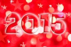 de groetkaart van 2015 op rode glanzende vakantielichten Stock Foto