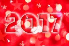 de groetkaart van 2017 op rode glanzende vakantielichten Royalty-vrije Stock Foto's