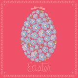 De groetkaart van Pasen - ei van vergeet-mij-nietjes Royalty-vrije Stock Afbeelding