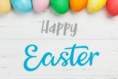 De groetkaart van Pasen met eieren royalty-vrije stock afbeeldingen