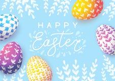 De groetkaart van Pasen met kleureneieren vector illustratie