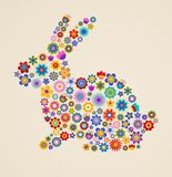 De groetkaart van Pasen met konijntje Stock Foto