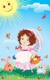 De groetkaart van Pasen met leuk meisje op een wa Stock Fotografie