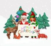 De Groetkaart van plasticine 3D Kerstmis met elf Royalty-vrije Stock Afbeelding