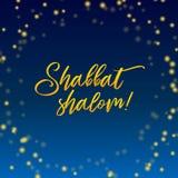 De groetkaart van Shabbat shalom kaarsen sterrig van letters voorzien, vector illustratie