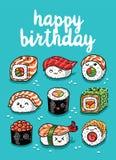 De groetkaart van sushiemoji met tekst gelukkige verjaardag Royalty-vrije Stock Foto's